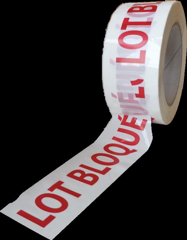 Fiche produit ruban adhésif imprimé lot bloqué